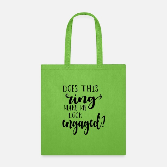 Groom Bags & Backpacks - does this ring make me look engaged ? gift t shirt - Tote Bag lime green