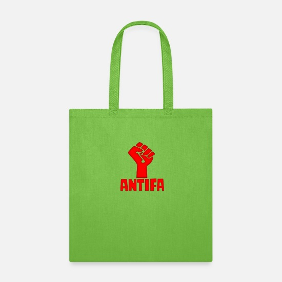 Antifa Bags & Backpacks - AntiFa Anti Fascist Fist - Tote Bag lime green