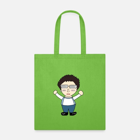 Shy Bags & Backpacks - Resist man. Little ugly shy man with glasses - Tote Bag lime green