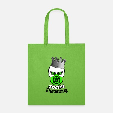 Shape Social Distancing King Skull Green Chinstrap Virus - Tote Bag