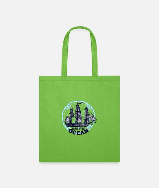 Sail Boat Bags & Backpacks - Sailboat of the ocean - gift - Tote Bag lime green