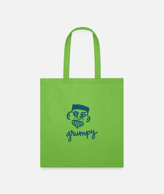 Style Of Music Bags & Backpacks - Grumpy Face Gesture Style - Tote Bag lime green