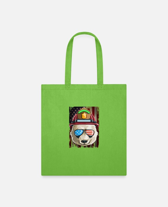 American Bags & Backpacks - Firefighter Panda US Flag on 4th Of July - Tote Bag lime green
