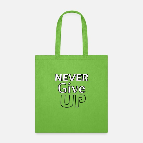 Never Bags & Backpacks - Never Give Up - Tote Bag lime green