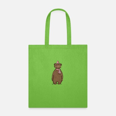 bear cub collar cartoon animal - Tote Bag