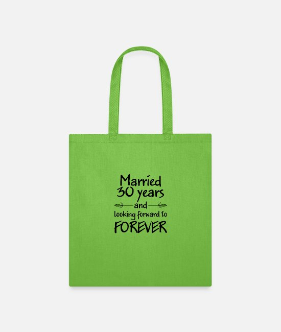 Bachelorette Party Bags & Backpacks - Married 30 years wedding gift - Tote Bag lime green