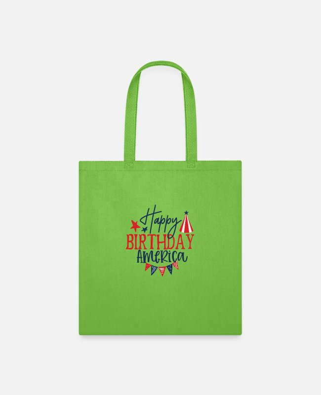 Happy Holidays Bags & Backpacks - Happy Birthday america - Tote Bag lime green
