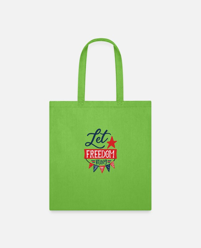Freedom Of Expression Bags & Backpacks - Let freedom bling - Tote Bag lime green