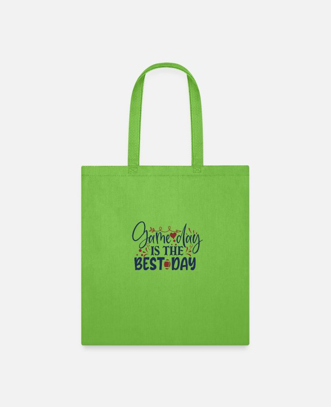 Game Ball Bags & Backpacks - Game day is the best day - Tote Bag lime green