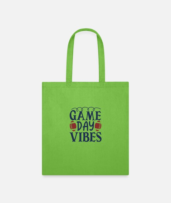 Day Of The Week Bags & Backpacks - Game day vibes - Tote Bag lime green