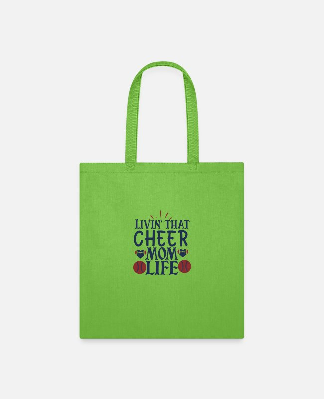 Life Force Bags & Backpacks - Livin that cheer mom life - Tote Bag lime green