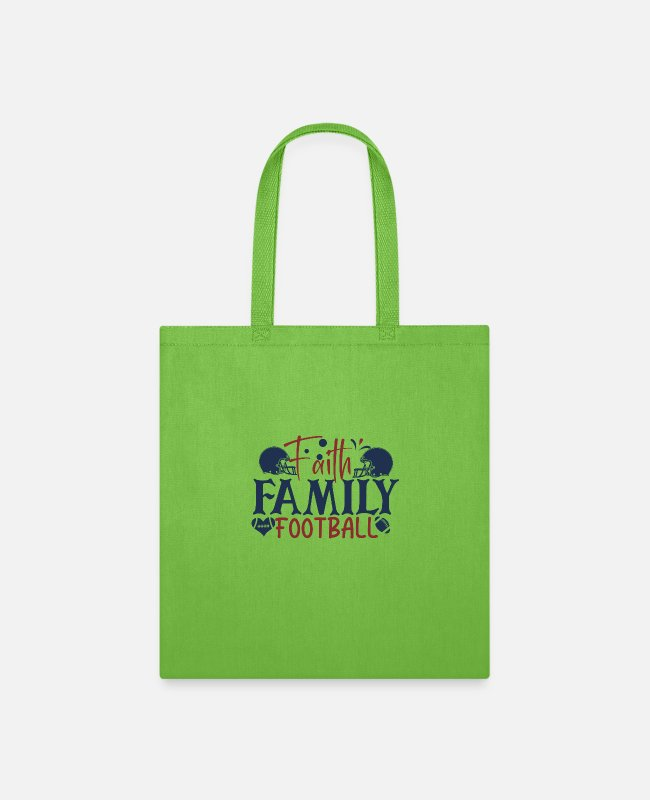 Family Trip Bags & Backpacks - Faith family football - Tote Bag lime green