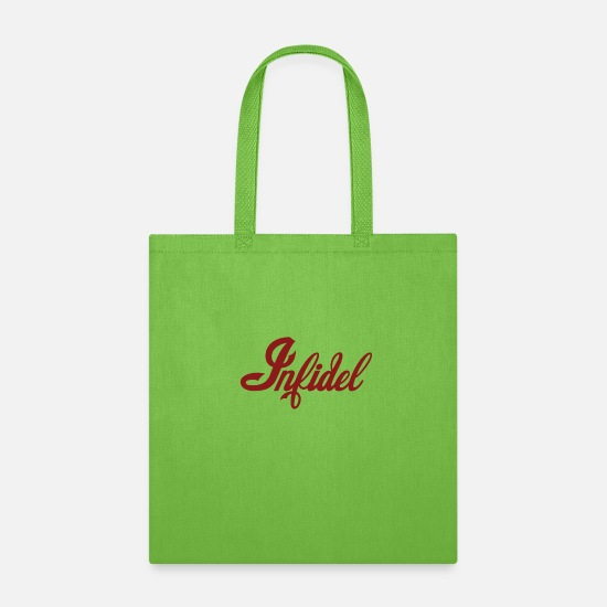 Red Bags & Backpacks - Infidel atheist - Tote Bag lime green