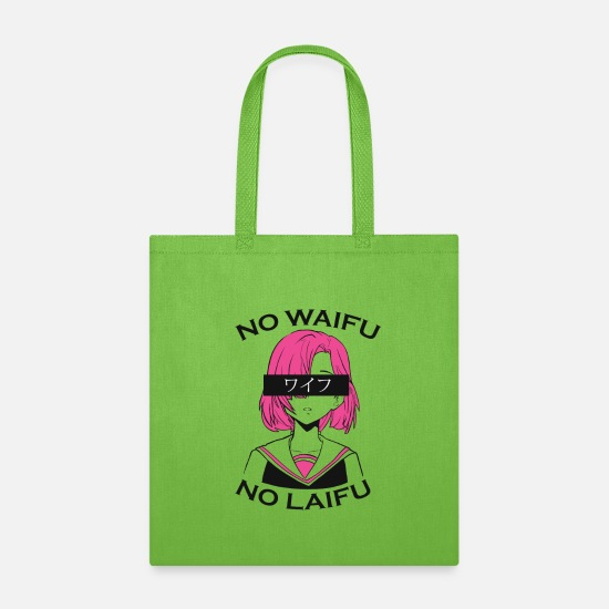 No Bags & Backpacks - No waifu no laifu anime girl japanese letters - Tote Bag lime green