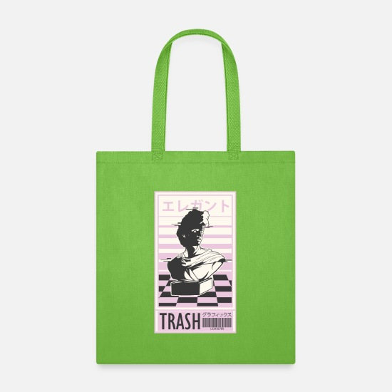 Trash Bags & Backpacks - Vapor Trash Graphic with classic bust and Japanese - Tote Bag lime green