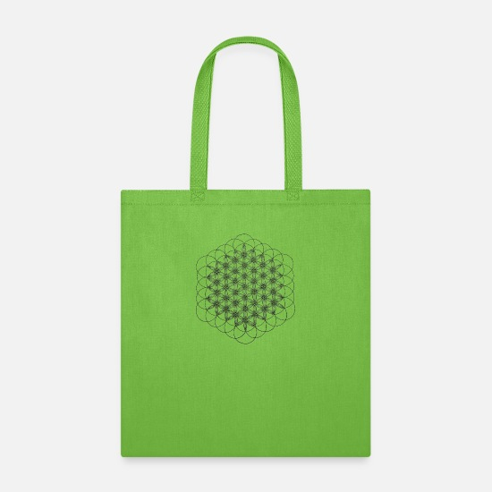 Life Force Bags & Backpacks - flower of life dots - Tote Bag lime green