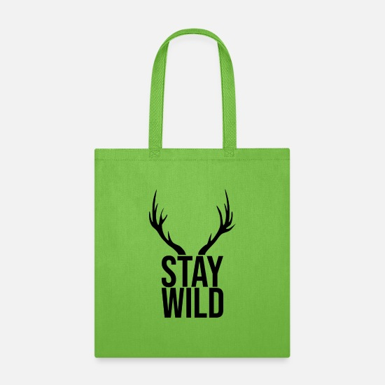 Wild Dog Bags & Backpacks - Stay Wild - Tote Bag lime green