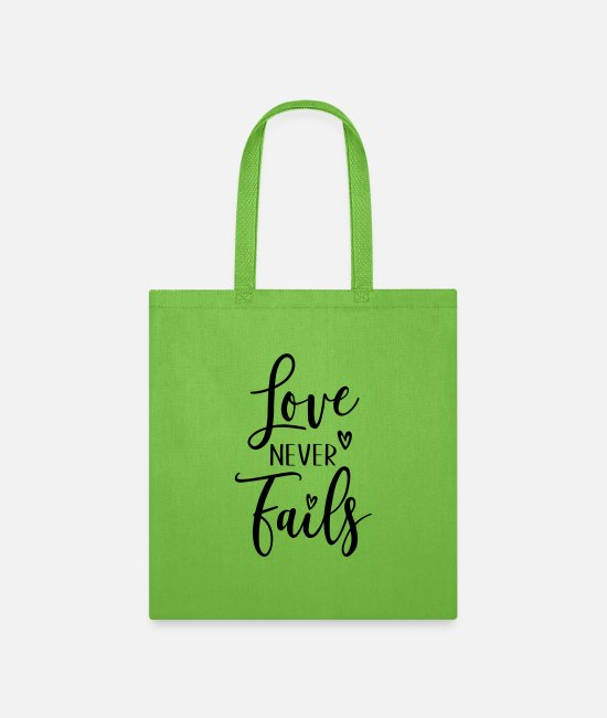 Love With Heart Bags & Backpacks - love never fails - Tote Bag lime green