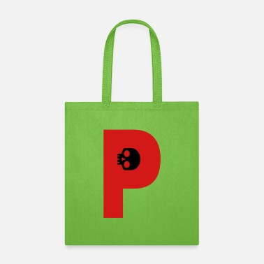 P ☠♥Awesome Skull Alphabet Initial Letter-P♥☠ - Tote Bag
