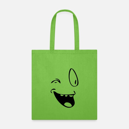 Face Bags & Backpacks - Happy Face Smiley with a wink - Tote Bag lime green