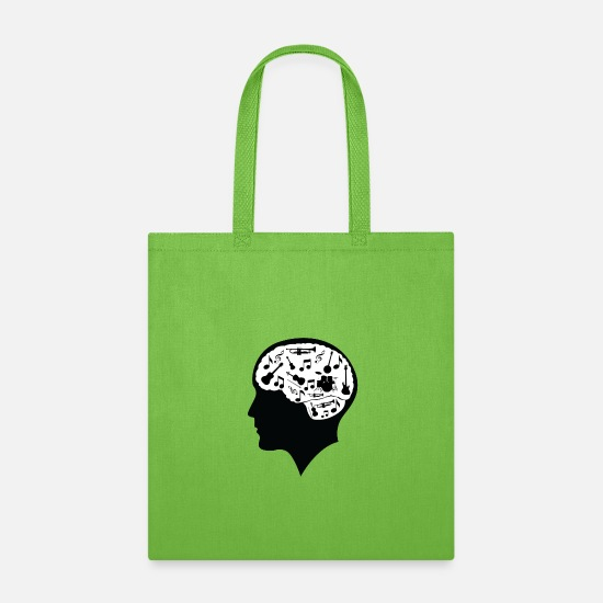 Gift Idea Bags & Backpacks - All i think about is music. - Tote Bag lime green