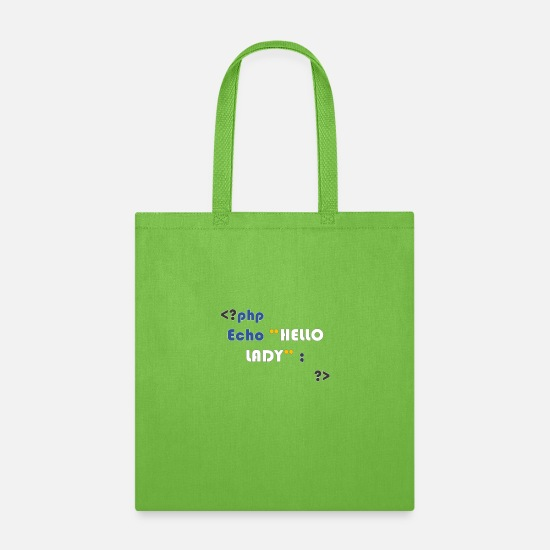 Php Bags & Backpacks - php code hello lady - Tote Bag lime green