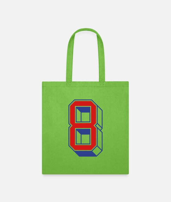 Design Bags & Backpacks - Vintage Jersey number 8 - Tote Bag lime green