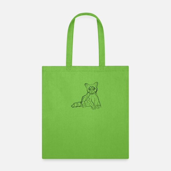 Gift Idea Bags & Backpacks - Raccoon animal - one line drawing - Tote Bag lime green