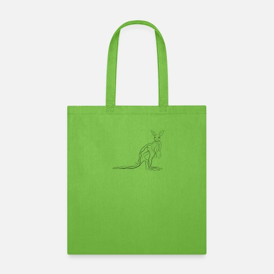 Drawing Bags & Backpacks - Kangaroo - one line drawing - Tote Bag lime green