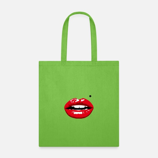 Lip Bags & Backpacks - Lips - Tote Bag lime green