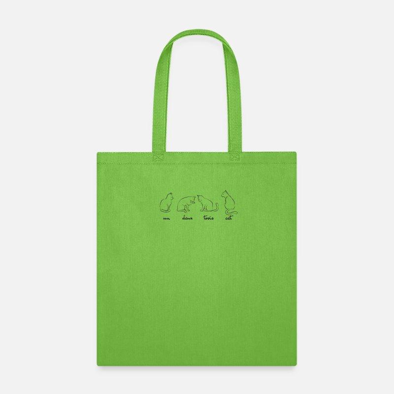 Un Deux Trois Cat Tote Bag lime green