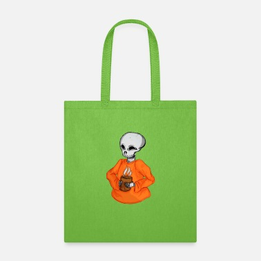 Hot Drinks Skeleton with a Hot Drink Halloween - Tote Bag