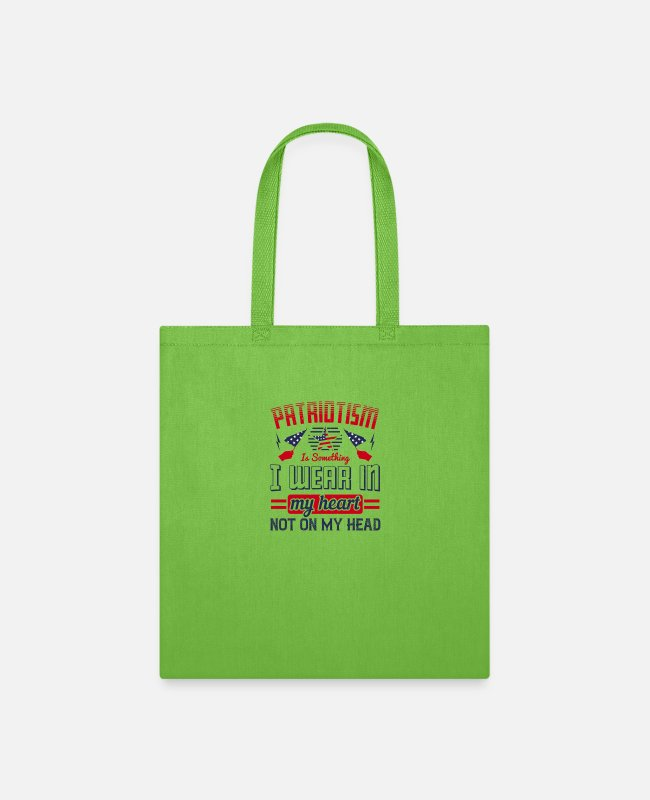 Heart Bags & Backpacks - Patriot Patriotism I Wear In My Heart - Tote Bag lime green