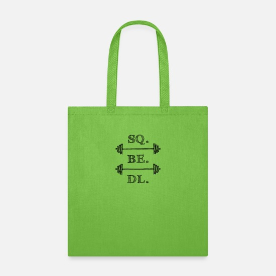 Font Bags & Backpacks - SQUAT BENCH DEADLIFT 2 Barbell - black print - Tote Bag lime green