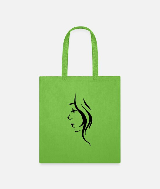 Drawing Bags & Backpacks - Girl Illustration - Tote Bag lime green