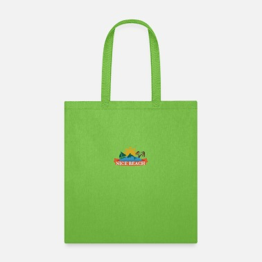 Skirt Nice beach showing sunrise boat and palm trees - Tote Bag