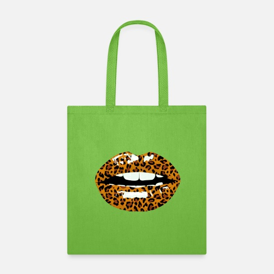 Leopard Bags & Backpacks - leokiss animal print - Tote Bag lime green