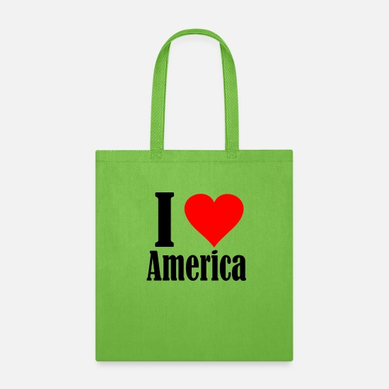 Love Bags & Backpacks - I Love America - Tote Bag lime green