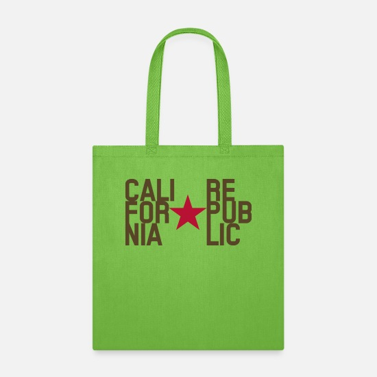 Patriot Bags & Backpacks - Original Fashion text design California Republic - Tote Bag lime green