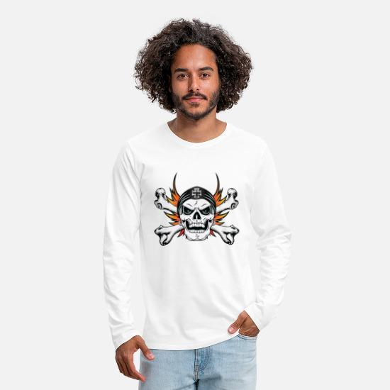 Skull And Bones Long-Sleeve Shirts - Skull Crossbones with Flaming Wings - Men's Premium Longsleeve Shirt white