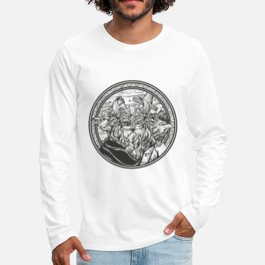 Norman Thelwell Odin and his ravens - Men's Premium Longsleeve Shirt