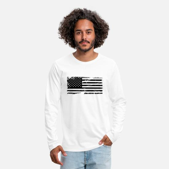 Stamps Long-Sleeve Shirts - scratch stamp tears old stripes map country americ - Men's Premium Longsleeve Shirt white