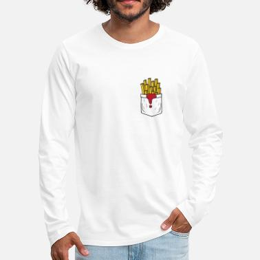 Fries Funny french fries breast pocket - Men's Premium Longsleeve Shirt