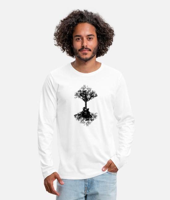 Guitar Long-Sleeved Shirts - Electric Guitar Tree Mens Funny Acoustic Bass Rock - Men's Premium Longsleeve Shirt white