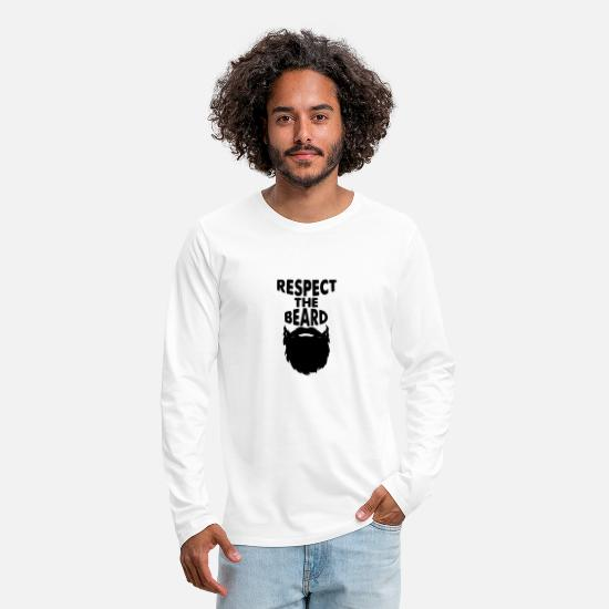 Beard Long-Sleeve Shirts - Respect it - Men's Premium Longsleeve Shirt white