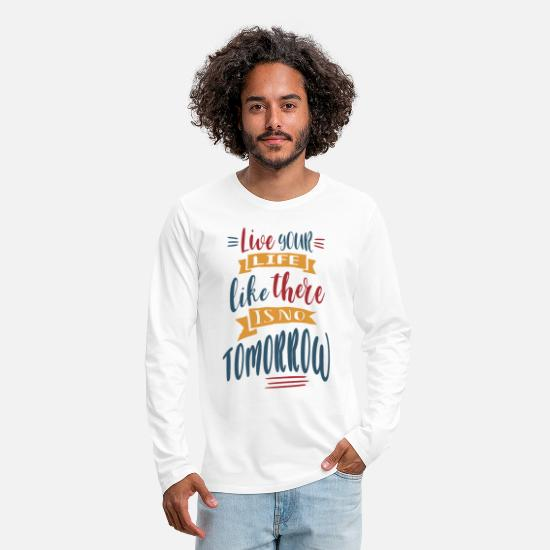 Typography Long-Sleeve Shirts - Live intensely - Men's Premium Longsleeve Shirt white