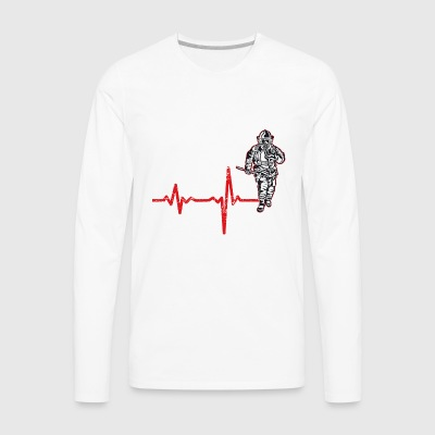 shirt gift heartbeat fire department - Men's Premium Long Sleeve T-Shirt
