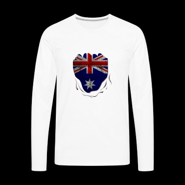 Funny Australian Flag Ripped Abs - Men's Premium Long Sleeve T-Shirt