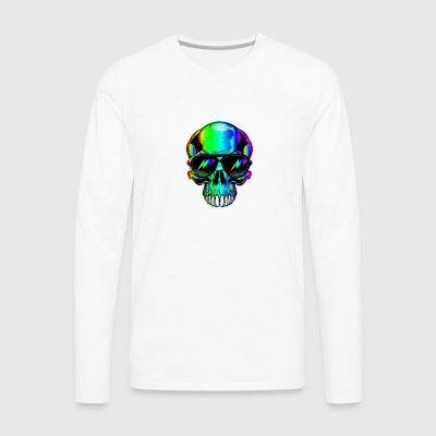 edm neon Skull with lightning bolts in sunglasses - Men's Premium Long Sleeve T-Shirt