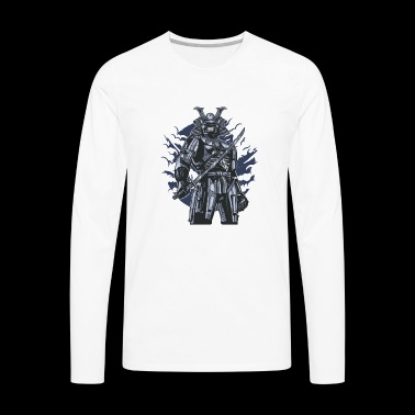 Samurai Robot Skull - Men's Premium Long Sleeve T-Shirt